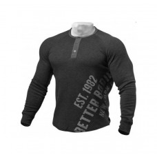Better Bodies  L/S Henley, Antracite Melange