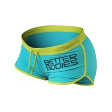 Better Bodies Contrast Hotpants, Aqua Lime